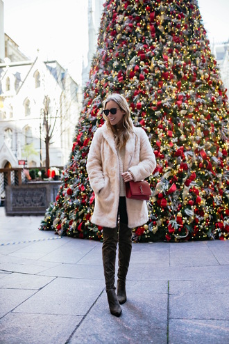 katie's bliss - a personal style blog based in nyc blogger coat sweater leggings shoes bag winter outfits faux fur coat ysl bag red bag boots