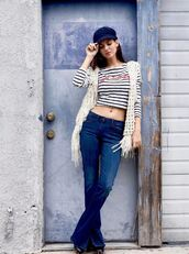 top,crop tops,stripes,striped top,jeans,vest,spring outfits,hat,instagram,victoria justice