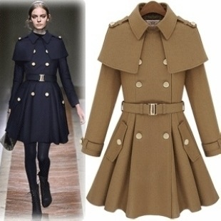 Free shoping NEW ARRIVALS Fashion navy blue gold buttons flounced waist woolen coat-in Wool & Blends from Apparel & Accessories on Aliexpress.com