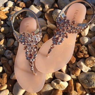 shoes sandals blush pink nude crystals decoration liliana liliana shoes rose gold rhinestones jellies