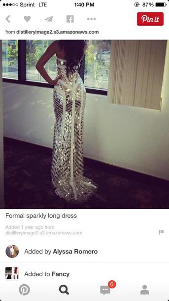dress sparkle prom dress long silver