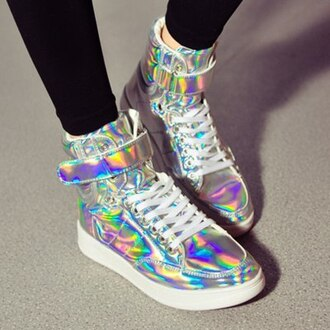 shoes holographic holographic shoes boots k-pop fashion