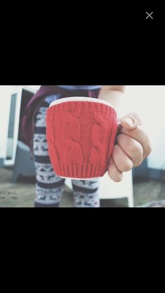 knitwear gloves mug cozy