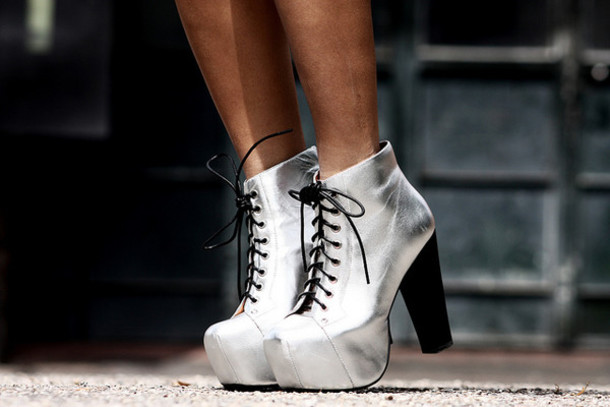 mode junkie jeffrey campbell silver shoes platform lace up boots shoes silver ankle boots