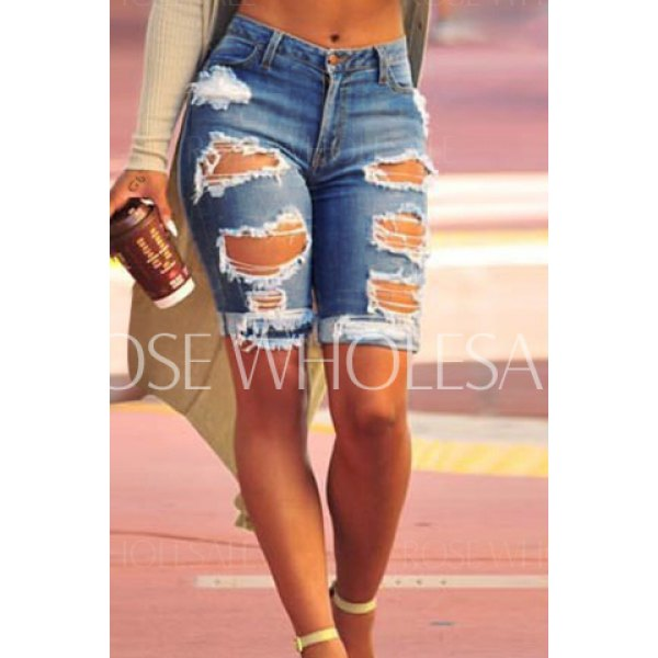 Stylish High Waist Slimming Ripped Denim Shorts For Women (DEEP ...