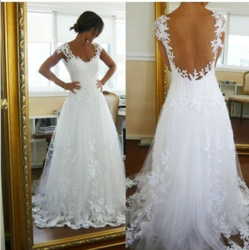 New Lace Sexy Bridal Wedding Dresses Prom Gown Evening Lace custom All Size 2-26 | eBay