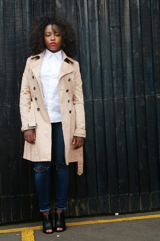 jacket booties clothes white shirt ruby woo mac cosmetics sandals african american trench coat minimalist ripped jeans blogger ralph lauren