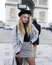 coat,tumblr,grey coat,oversized,oversized coat,beret,hat,skirt,mini skirt,grey skirt
