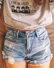 shorts,shirt,beautiful jeans,cut off shorts,t-shirt,the beatles,grey t-shirt,grunge,crop tops,denim,beatles shirt,High waisted shorts,grey,jeans,gray crop tee,the beatles shirt,high waisted denim shorts,cute,outift,denim shorts,cool,band t-shirt,urban,hipster,golden ticket