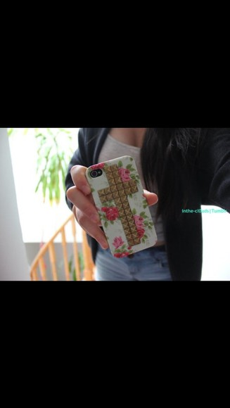 jewels floral flower iphone iphone5 studs gold pink green
