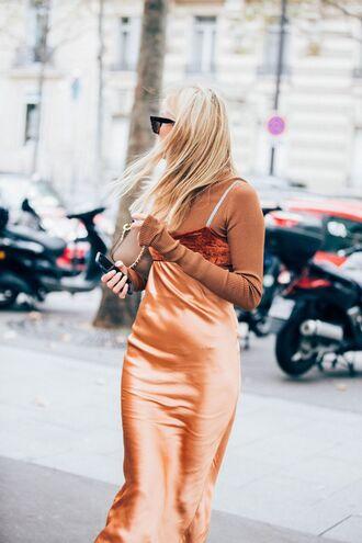 dress fashion week street style fashion week 2016 fashion week paris fashion week 2016 orange dress orange midi dress slip dress top long sleeves streetstyle tumblr