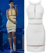 New White Mesh Cut Out High Neck Celeb Stretch Bodycon Party Dress UK 8 10 12 14 | eBay