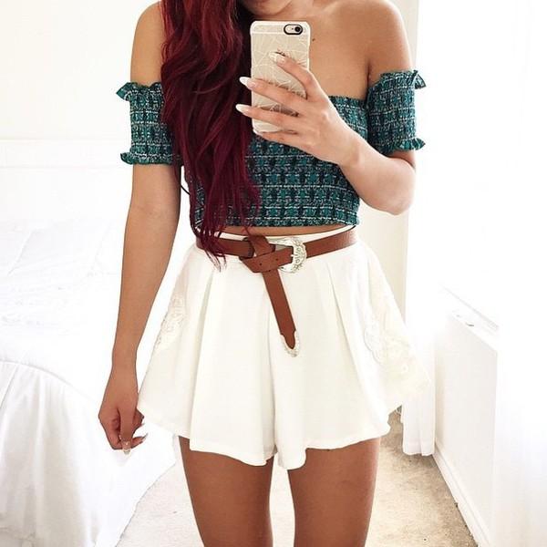 shirt cute love pretty crop tops high waisted shorts