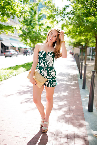 a lonestar state of southern blogger romper jewels clutch green