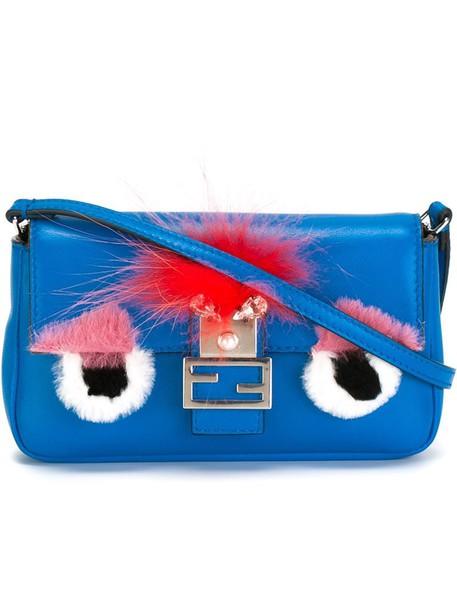Fendi fur fox women bag crossbody bag leather blue
