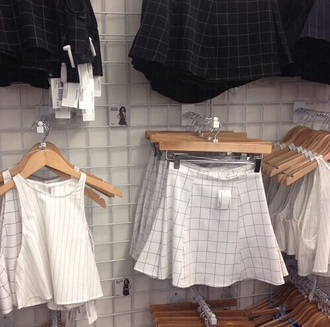 skirt grid american apparel zara.skir too