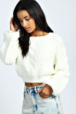 Amy Cocoon Sleeve Crop Cable Knit Jumper at boohoo.com