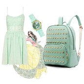 bag,stud,fashion,girl,back to school,dress,green,watch,backpack,gold,jewels,mini dress