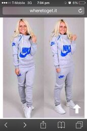 sweater,nike writing blue grey colour,top,grey nike and blue tracksuits,jumpsuit,nike sweatpants,winter suit,nike,clothes,gray hoodie,pants,nike blue grey sweater  hoodie,grey,nike tracksuit,nike sweat outfit,womens royal blue nike sweasuir,nike jogging suit,jacket