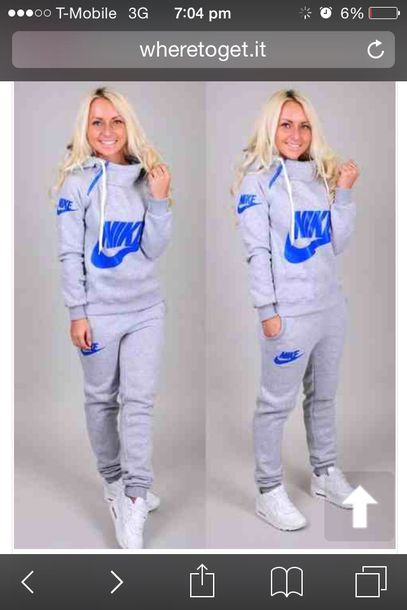 buy popular 0b774 610f0 sweater, nike writing blue grey colour, top, grey nike and blue ...