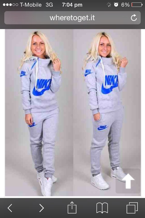 Sweater: nike writing blue grey colour, top, grey nike and blue tracksuits,  jumpsuit, nike sweatpants, winter suit, nike, clothes, gray hoodie, pants,  nike ...