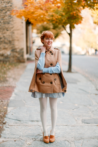 the clothes blogger tights bag cape camel sweater light blue loafers skirt