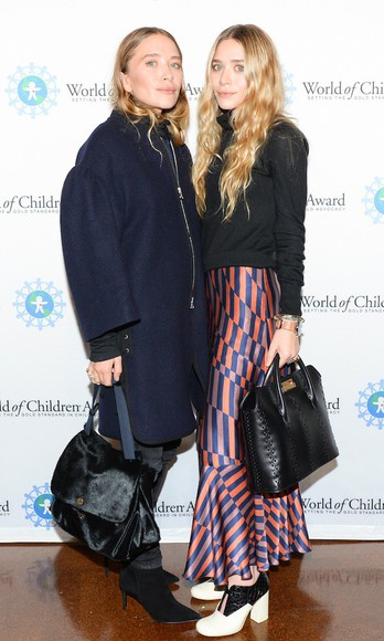 mary kate olsen olsen sisters fall outfits ashley olsen coat skirt turtleneck psychedelic stripes navy