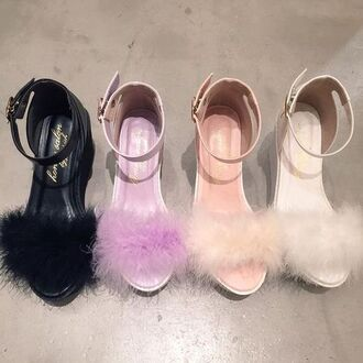 shoes heels nude black white lilax lilac fluffy fuzzy heals nude heels white heels purple heels black heels