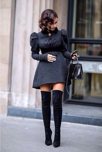 shoes overtheknee boots black dress grey fashion mode elegance t-shirt paris knee high heels thigh high boots high heels black dress short party dresses couture dress knee high boots peplum black boots