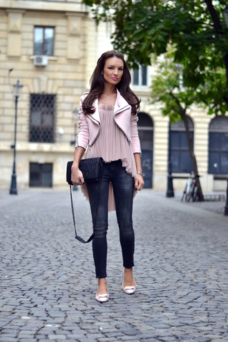 my silk fairytale blogger jacket top jeans bag
