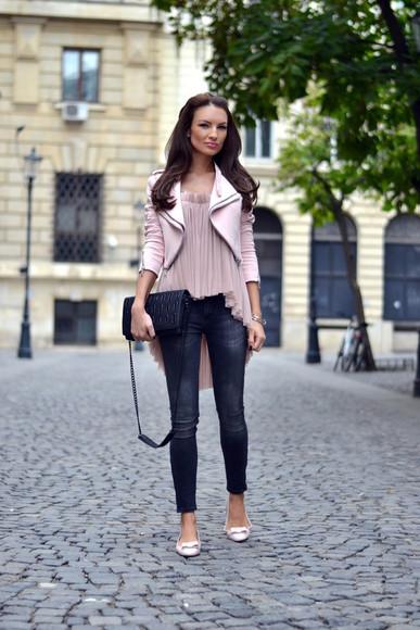 my silk fairytale bag top jeans blogger jacket