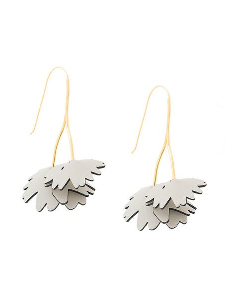 women wishbone earrings floral grey jewels