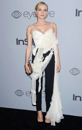 blouse top asymmetrical diane kruger pants black and white golden globes 2018