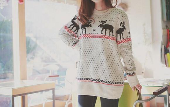 deer christmas sweater deer sweater cozy sweater knitted sweater