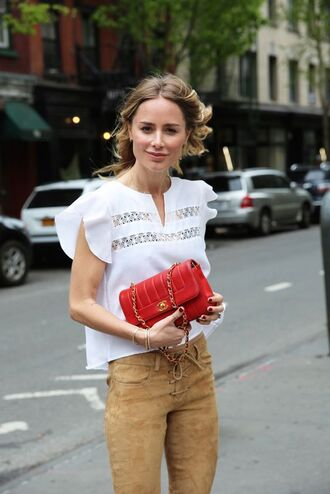 pants camel pants suede pants blouse white blouse top white top bag red bag anine bing chanel chanel bag
