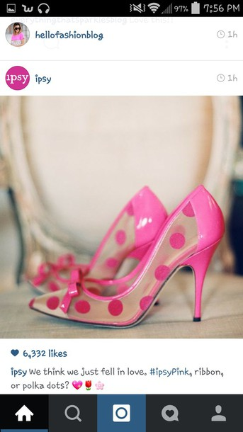 shoes pink polka dot heels