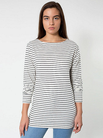Unisex Stripe Long Sleeve Boat Neck Shirt | American Apparel