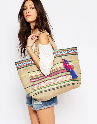 bag embroidered tassel rainbow beach