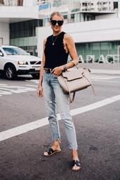 fashionjackson,blogger,sweater,jeans,belt,sunglasses,bag,shoes,jewels,top,sandals,black top,summer outfits