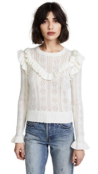 LoveShackFancy sweater ruffle sweater ruffle cream