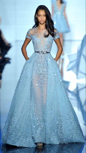 dress blue dress sparkly dress model see through dress embellished dress princess dress light blue lace dress long dress clothes zuhair murad zuhair murad gown prom dress prom gown