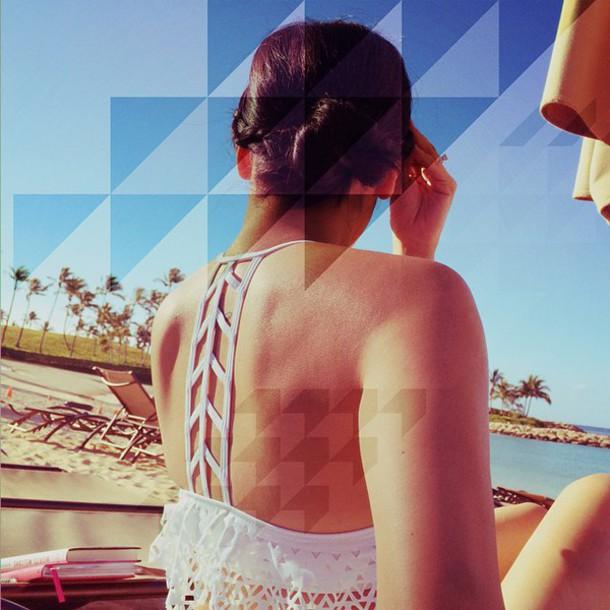 swimwear bikini bikini top white chevron cut-out swimsuit