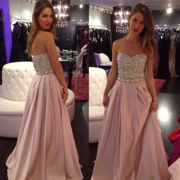 dress, pink dress, pink, glitter dress, prom dress, prom, girly ...