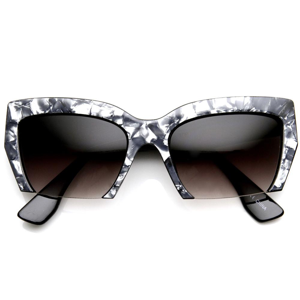 Womens Marbleized Fast Fashion Half Cut Frame Cat Eye Sunglasses 9280