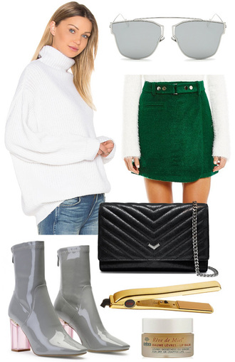 intheircloset blogger sweater sunglasses skirt bag shoes winter outfits turtleneck sweater green skirt ankle boots shoulder bag