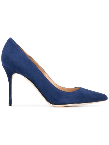Sergio Rossi pointed toe pumps women pumps leather blue shoes