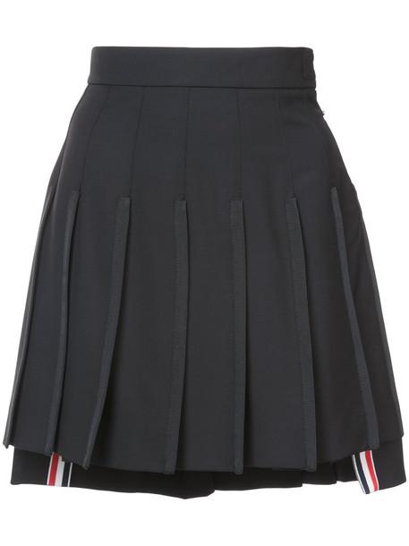 Thom Browne skirt pleated skirt mini pleated back women mohair black silk wool