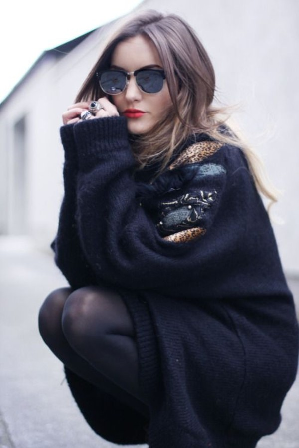 sunglasses sweater sweater dress model oversized sweater black feathers hipster fall sweater
