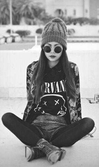 shirt grunge band t-shirt shorts