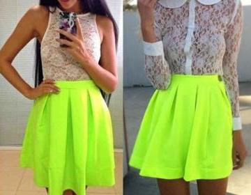 Lovely fluorescent green skirts, sk..